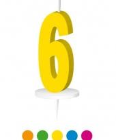Cijfer kaarsen geel 6
