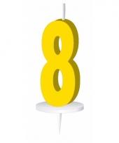 Cijfer kaarsen geel 8
