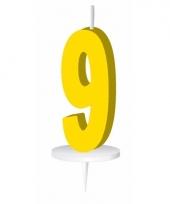 Cijfer kaarsen geel 9