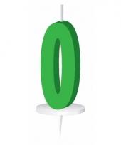 Cijfer kaarsen groen 0