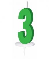 Cijfer kaarsen groen 3