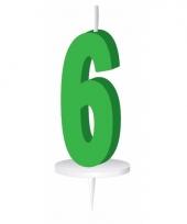 Cijfer kaarsen groen 6