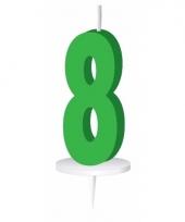 Cijfer kaarsen groen 8