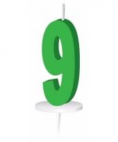 Cijfer kaarsen groen 9