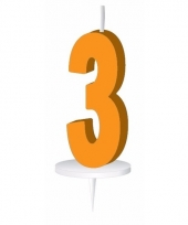 Cijfer kaarsen oranje 3