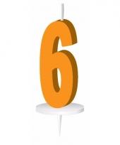 Cijfer kaarsen oranje 6