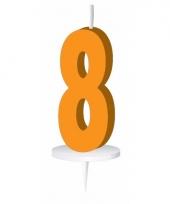 Cijfer kaarsen oranje 8