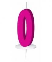 Cijfer kaarsen roze 0