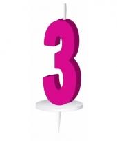 Cijfer kaarsen roze 3
