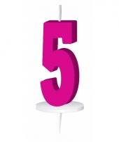 Cijfer kaarsen roze 5