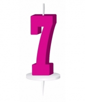 Cijfer kaarsen roze 7
