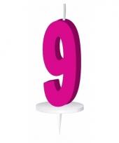 Cijfer kaarsen roze 9