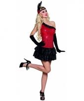 Compleet flapper kostuum rood zwart