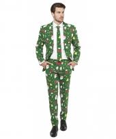 Compleet kostuum met kerst print groen