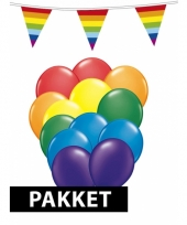 Compleet regenboog versiering pakket groot