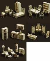 Complete poppenhuis interieur set meubeltjes