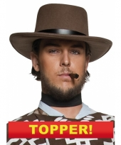 Cowboy hoed bruin met zwarte band 10049650