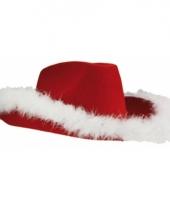 Cowboyhoed rood met witte veren
