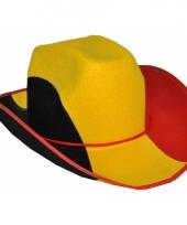 Cowboyhoed zwart geel rood