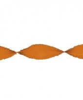 Crepe papieren slingers oranje 24 m