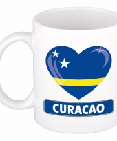 Curacao vlag hart mok beker 300 ml