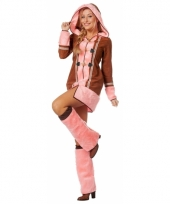 Dames eskimo kostuum bruin roze