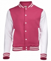 Dames jas in fuchsia roze en wit