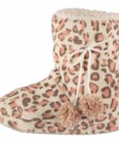 Dames pantoffels luipaard motief in het roze