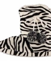 Dames pantoffels zebra motief in het zwart