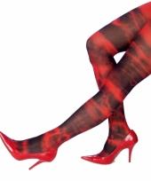Dames panty rood zwart