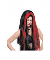 Dames pruik heks rood zwart