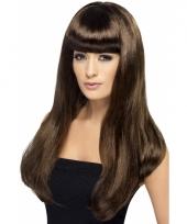 Dames pruik met lang bruin stijl haar en pony