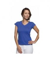 Dames shirts v hals bodyfit kobalt blauw