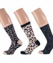 Dames sokken beige navy luipaard design maat 35 42