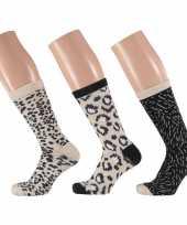 Dames sokken beige zwart luipaard design maat 35 42