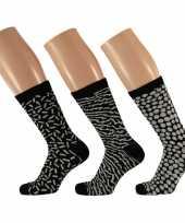 Dames sokken zwart wit design maat 35 42 type 1