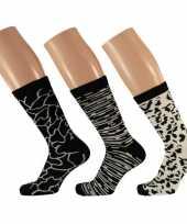 Dames sokken zwart wit design maat 35 42 type 2