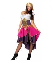 Dames zigeunerin kostuum paars roze