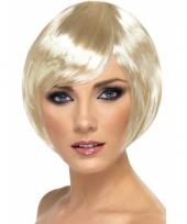Damespruik met kort blond haar