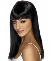 Damespruik zwart steil haar