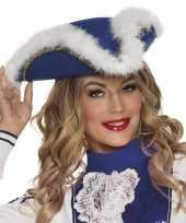 Dansmarieke hoedje blauw en wit