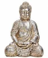 Decoratie beeld boeddha antiek zilver 41 cm