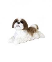 Decoratie beeld bruine boomer hond 19 cm