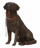 Decoratie beeld bruine labrador 18 cm