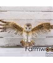 Decoratie beeld wandhanger kerkuilen vogel bruin wit 55 cm