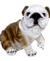 Decoratie beeld zitende bulldog hond 25 cm