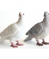 Decoratie beeldje witte duif 20 cm