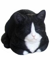Decoratie beeldje zwarte kat 34 cm