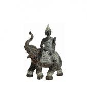 Decoratie boeddha beeld met olifant grijs 29 cm