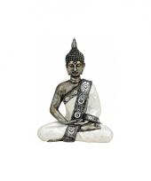Decoratie boeddha beeld zilver wit 27 cm